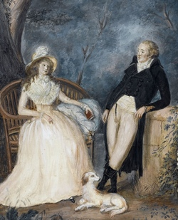 Goethe and Charlotte von Stein in conversation. Unknown artist, late 18th century.